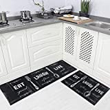 Carvapet 2 Piece Kitchen Rug Set Non-Slip Backing Mat Throw Rug for Kitchen Doormat Runner Rug Set, Motto Design, Black (17'x48'+17'x24')