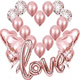 Jonami 21 Ballons Rose Or, 1 Ballon Love XXL,6 Ballons Coeur Or Rose,4 Ballons...