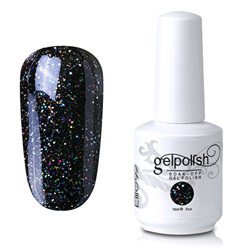 Elite99 Gel Nail Polish Soak Off UV LED Gel Lacquer Nail Art Manicure Glitter Black 367 15ml