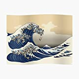 The Great Wave of Pugs Vanilla Sky Poster Small (21.9 x 16.4 in) | Posters Wall Art for College University Dorms, Blank Walls, Bedrooms | Gift Great Cool Trendy Artsy Fun Awesome Present