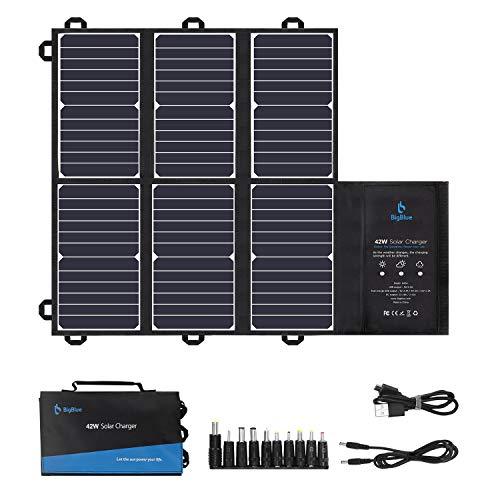 BigBlue Panneau Solaire Portable SunPower, 42W Chargeur Solaire Pliable (2 USB+12V DC Sortie) pour...