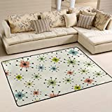 Vintage Atomic Stars Retro Area Rugs 4'x6' Modern Doormat Home Outside Inside for Bedroom Living Room Floor Mat Non Slip Indoor