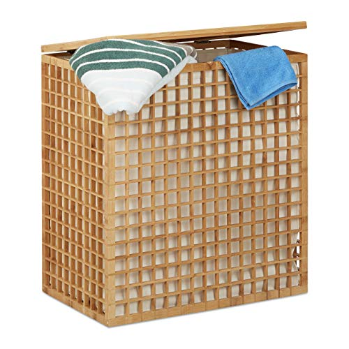 Relaxdays Wäschesammler 2 Fächer