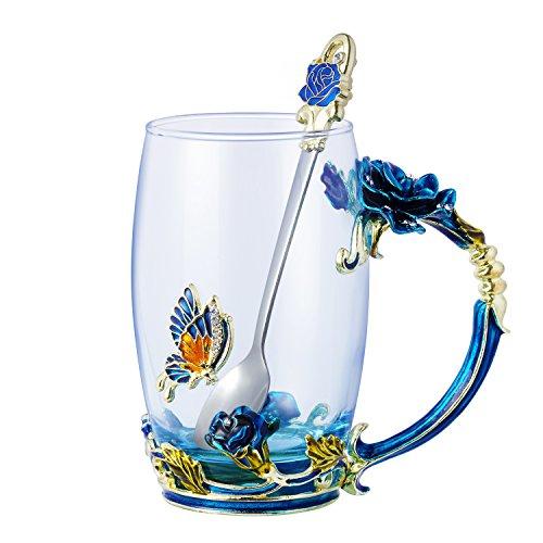Enamel Glass Coffee Mugs Tea Cups with Spoon Beautiful...