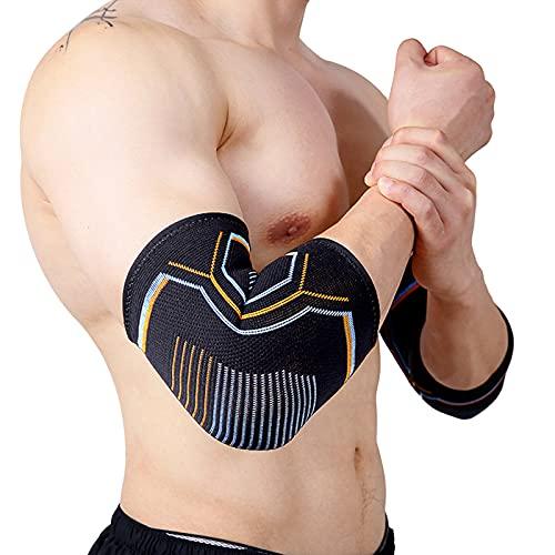 Amtrak Tutore per gomito unisex, compressione per gomito, supporto per articolazione e muscoli, fascia elastica per articolazione in maglia a compressione per dolori e prevenzione (2 pezzi)