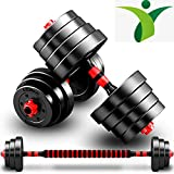 BCBIG Weights Dumbbells Set,Adjustable 2 in 1 Barbell Free Weight Exercises Workout Equipment Fitness Lifting Training Sports & Outdoors Men and Women for Home Gym20 lbs (10 lbs2pcs)