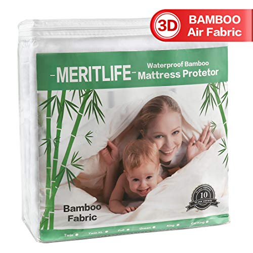 MERITLIFE Premium Bamboo Waterproof Mattress Pad Protector Twin Single Size 3D Air Fabric Ultra Soft Breathable Mattress Cover Comfort & Protection Phthalate & Vinyl-Free (White, Twin)