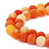 JARTC Natural Orange Frosted Agate Round Stone Beads for Jewelry Making DIY Bracelets...