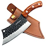 KOPALA Kitchen Knife Cleaver/Boning Knives Forged Multipurpose Grilling Knife Carbon Steel with Leather Sheath