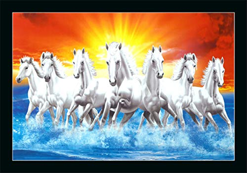 FLORETO 6502 Seven Running Horses in Sea Sunrise UV Coated Framed Animals Painting for Home and Decoration (14x20 Inch, Multicolor)