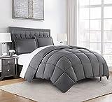 Chezmoi Collection 3-Piece Down Alternative Comforter Set (Queen, Gray)