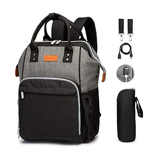 Baby Wickeltasche Rucksack, PAREIKO Wickelrucksack mit Wickelunterlage Multifunktional Große Kapazität Babytasche Reisetasche, USB-Ladeanschluss, Baby-Flaschen-Tasche, Kinderwagen Haken für Unterwegs