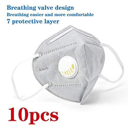 10pcs Safety KN95 FFP2/PM2.5, con valvola di respirazione, adatto per molte occasioni, adulti uomini e donne Protezione personale