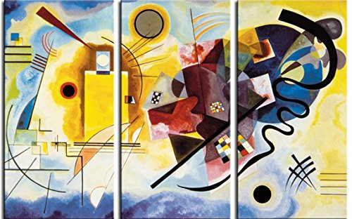 1art1 Wassily Kandinsky - Giallo Rosso Blu, 1925, 3 Parti Stampa su Tela (180 x 120cm)