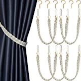 6 Pieces Braided Curtain Tiebacks Rope Belt Curtain Ties with 6 Pieces Hooks Metal Curtain Tieback Hooks for Window Curtain Accessories (12, Beige)