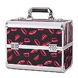 EYEOWLL Organizador de Maquillaje Viaje, Caja de Maquillaje, Maletín de Maquillaje - 4 x Bandejas Desplegables, Compartimento Inferior Grande