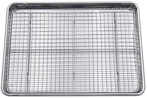 Checkered Chef Stainless Steel Baking Sheet With Rack - Heavy Duty Warp Resistant Half Sheet Pan for Baking with Oven Safe Baking/Cooling Rack