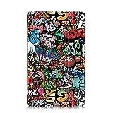 Xuanbeier Ultra Fine Etui Housse pour Samsung Galaxy Tab A 10.1 SM-T580/T585, Coque de avec Fonction de Support Multi-Angle, Graffiti