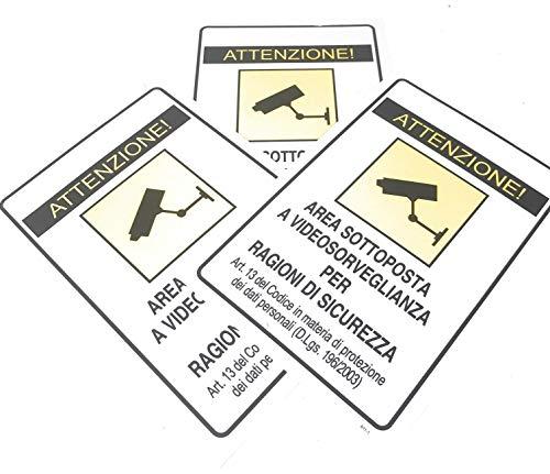 IRPot - 3 X CARTELLI SEGNALETICI IN PVC ' AREA SOTTOPOSTA A VIDEOSORVEGLIANZA '