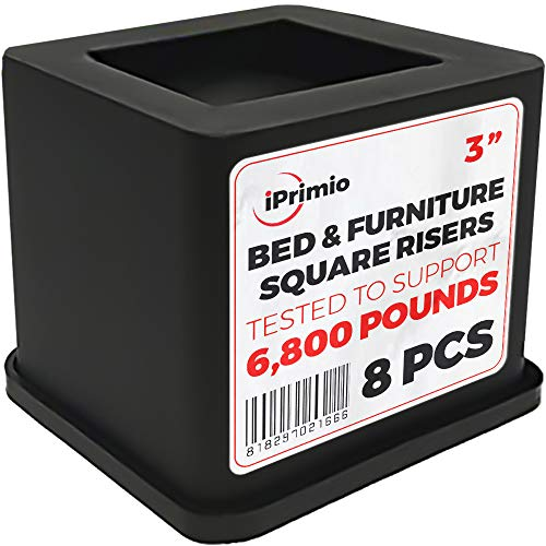iPrimio Bed and Furniture Square Risers - 3 INCH Rise Size - Wont Crack & Scratch Floors - Heavy Duty Rubber Bottom - Patent Pending - Great for Wood and Carpet Surface (Black, 8)