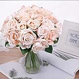 Pauwer 2pcs / 18 Fleurs Artificielles de Tête Bouquet de Rose, Faux Soie Floral...
