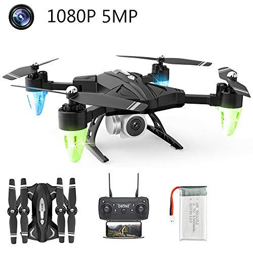 APJS Pieghevole Drone 1080P Full HD Telecamera FPV Trasmissione con 6 Assi Gyro WiFi App Controllo Telecomandati Quadcopter 18 Minuti Batteria Quadricottero RC Portatile, Droni Facile,1080P