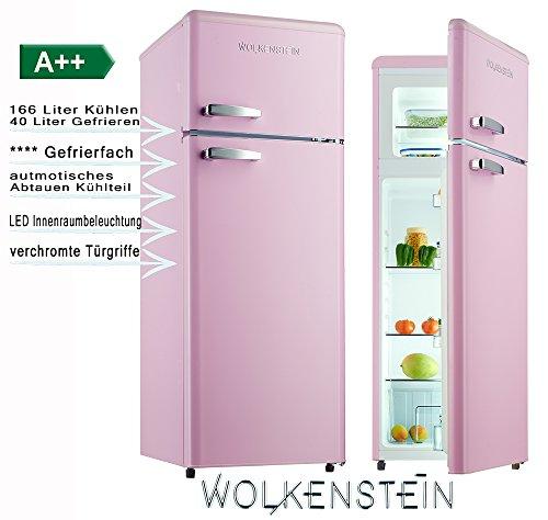 Wolkenstein GK212.4RT GK2RT - Combinazione Frigorifero in Stile retr, da 206 Litri, Colore: Rosa...