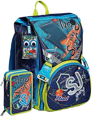 Schoolpack Zaino Seven SJ Gang Ledtech Boy Estensibile + Astuccio 3 Zip Completo