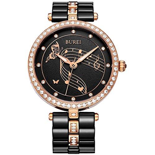 BUREI Quarz Damen Uhren Elegante Analoganzeige Datum Kalender Kristall Marker Lünette und Two Tones Keramik Uhrenarmband