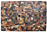 Fashion Contemporary Vintage Retro Leather Bands Area Rug, 48x60', Perfect for Living Room, Kitchen, Bed Room, Loft, Media Room, Game Room, Office and more