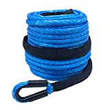 Ucreative 3/8' x 95' 20500LBs Synthetic Winch Line Cable Rope with Sheath for Off Road Vehicle SUV (Blue)
