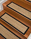 Natural Area Rugs - Seagrass Stair Tread, Beach Collection, Natural Fiber, Handmade & Latex Backed, Black 9' x 29' (13 Treads)