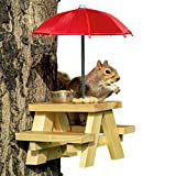 SQUIFTY Squirrel Feeder Picnic Table with Red Umbrella and Corn Cob Holder and Small Peanut Cup |...