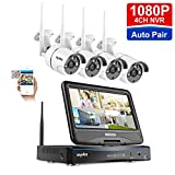 All in one with 10.1' Monitor Wireless Security Camera System, SANNCE 4CH 1080P Home Surveillance System, 4pcs 2MP 100ft Night Vision Indoor Outdoor Bullet IP Camera,Easy Remote Access,NO Hard Drive