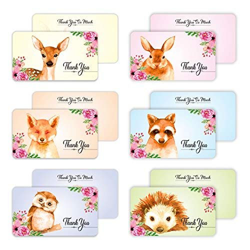 Thank You Business Cards - (Pack of 96) Woodland Animals 3.5' x 2' Appreciation Encouragement Greeting Note Card for Customers Employees Teachers Coworker Staff
