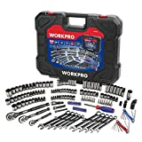 """WORKPRO 164-piece Mechanics Tool Kit - Black Oxide Coating Drive Socket Set with 1/4"""", 3/8"""" & 1/2'' 72-Tooth Pear Head Ratchets"""