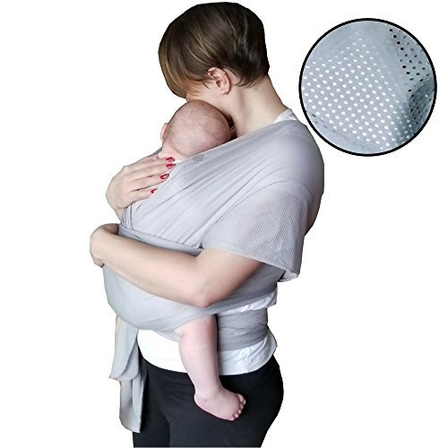 The Breezy Wrap   Quick-Dry Cotton-mesh Baby Carrier   Cool, Breezy, Sweat-Free Baby-Wearing Adventures   Strong and Sturdy but Light and Minimal  5-35lbs   Supports Charity   (Silver)