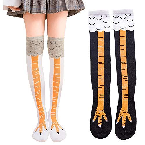 Calzini da donna con gamba di pollo, 2 paia di calze elastiche in cotone per Halloween, ideali come regalo di Natale per donne e ragazze, divertenti calze di Natale per Halloween e cosplay