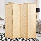 Corelax Room Divider Privacy Screen with Natural Bamboo,4 Panel Folding Privacy Screens,Freestanding...