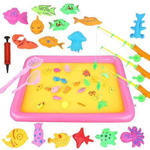 Ulikey 47 Pezzi Giocattolo da Pesca, Gioco di Pesca con Impermeabile Gioco di Bagno Giocattolo, Canne da Pesca Giocattolo Educativi Divertente Regalo per i Bambini