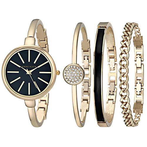 Anne Klein Women's AK/1470GBST Gold-Tone Watch and Bracelet...