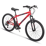 Huffy Hardtail Mountain Bike, Summit Ridge 24-26 inch 21-Speed, Lightweight, Gloss Red