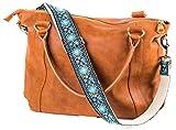 Blue Vintage Handbag Strap & Purse Strap Replacement - Jacquard Woven Embroidered Guitar Strap Styled Shoulder & Crossbody Strap - Adjustable Bag Strap For Tote And Messenger Bags – Gold Hardware