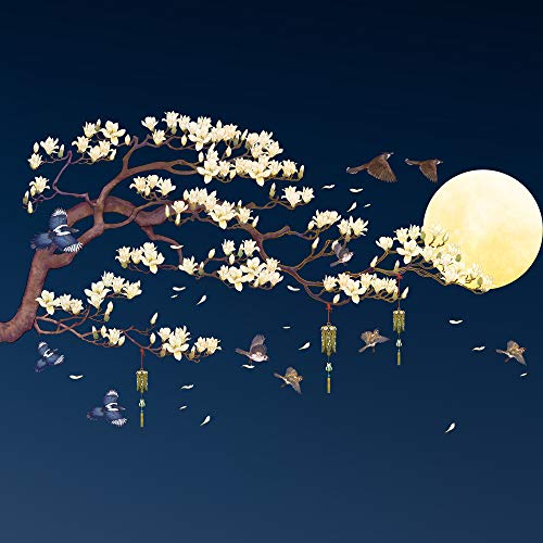 Amaonm Chinese Style Yellow Flowers Brown Tree and Flying Birds Moon...