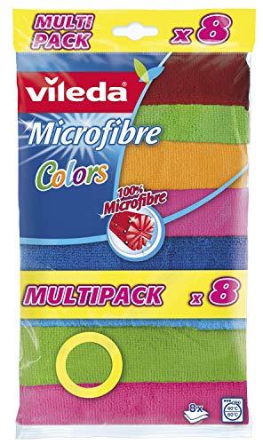 Vileda Microfibre Colors, Panni in Microfibra, Lavabili in Lavatrice, Riutilizzabili, Multicolore, 30x 30 cm , 8 Pezzi