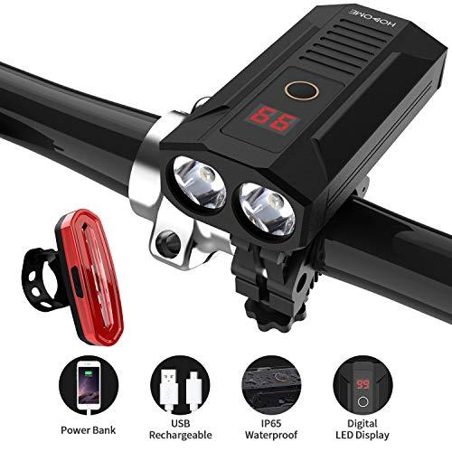 Hosome Luci per Biciclette, Luce per Bicicletta Ricaricabile USB 5200mAh con Funzione Power Bank e Display a LED Digitale 900 Lumen Faro 120 LM Fanali Posteriori