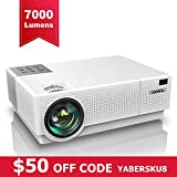 Projector, YABER Native 1920x 1080P Projector 7000 Lux Upgrade Full HD Video Projector, ±45° 4D Keystone Correction Support 4K& Dolby,LCD LED Home Theater Projector Compatible with Phone,PC,TV Box,PS4