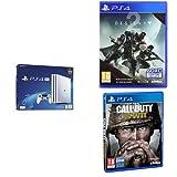 """Contient: Une PS4 Pro Blanche Une Manette Dual Shock V2 pour PS4 blanche Le jeu """"Destiny 2"""" sur PS4 [Edition exclusive Amazon.fr] Le jeu """"Call of Duty : World War II"""" sur PS4 [Edition exclusive Amazon.fr]"""