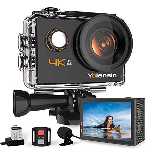 Yolansin Action Cam 4K Fotocamera 20MP 40M Impermeabile Sott'acqua Super EIS Sport Camera con Grandangolo 170°HD DV Telecomando WiFi 2.4G Videocamera da Casco 2x1200 mAh Batterie Accessori Completi