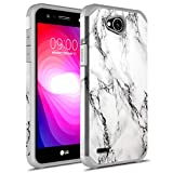 LG X Power 2 Case, LG Fiesta LTE Case, LG K10 Power Case, Rosebono Hybrid Dual Layer Shockproof Hard Cover Graphic Fashion Cute Colorful Silicone Skin Case for LG LV7 - White Marble